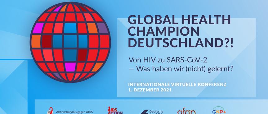 Logo zur Internationale virtuelle Konferenz am 01. Dezember - Deutschland Global Health Champion