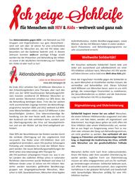 """Infoblatt """"Schleife zeigen für Menschen mit HIV&Aids"""""""