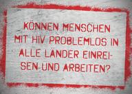 AIDS Kampagne, HIV, Themenkarte, Reisen mit HIV, Arbeiten mit HIV, Abschiebung, Studium