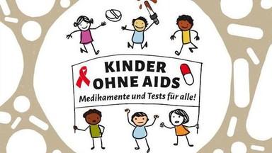 """""""Kinder ohne Aids - Medikamente und Tests für Alle!"""" - Kampagnenlogo"""