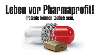 """Poster der Kampagne """"Leben vor Pharmaprofit - Patente können tödlich sein"""" des Aktionsbündnis gegen AIDS 2008 -2009"""