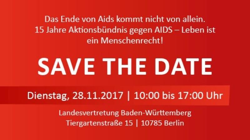 save the date fachtag konferenz zu hiv in berlin im November 15 Jahre Aktionsbündnis gegen AIDS